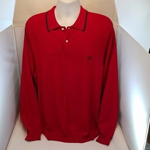 Mens Red Long Sleeve Polo Ralph Lauren Chaps M